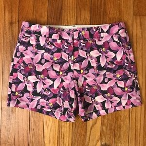 Lands' End 5 inch orchid print chino shorts